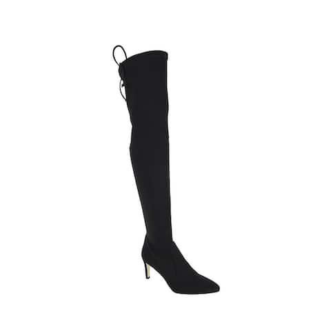 Stuart Weitzman Women's Black Stretch Fabric Lycra Over the Knee Boot