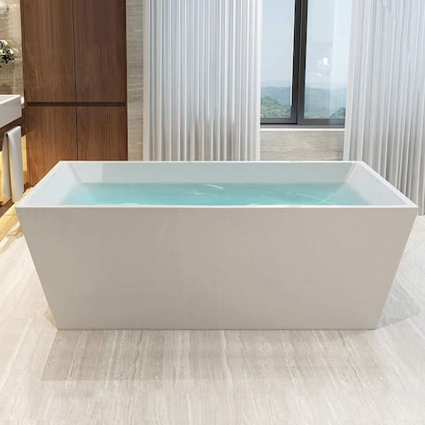 "Vanity Art 67"" Freestanding Acrylic Bathtub Modern Stand Alone Soaking Tub with Chrome Finish Slotted Overflow & Pop-up Drain"