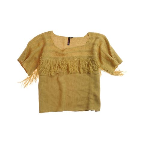 Material Girl Womens Fringed Neckline Knit Sweater, Brown, X-Small