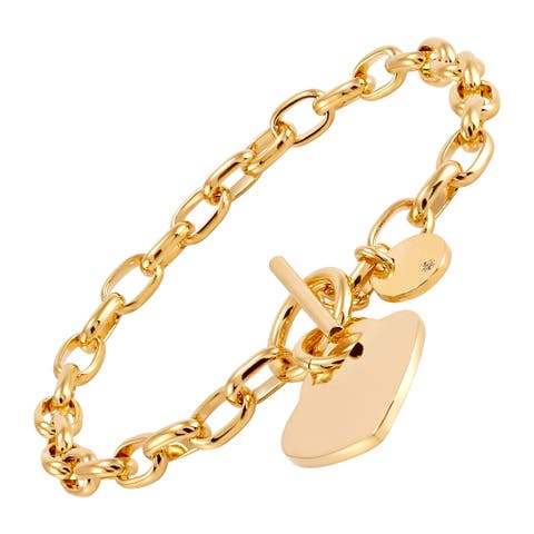 """Italian-Made Heart Charm Toggle Link Bracelet in 18K Gold-Plated Bronze, 8"""" - Yellow"""