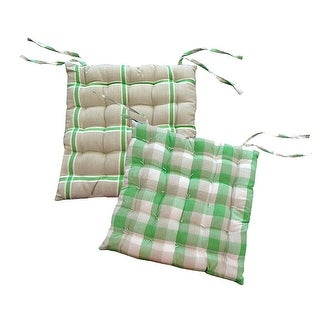 "15"" Green, White and Beige Plaid Reversible Indoor Chair Cushion with Ties"