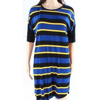 DKNY NEW Blue Yellow Black Womens Size Medium M Stripe Shirt Dress