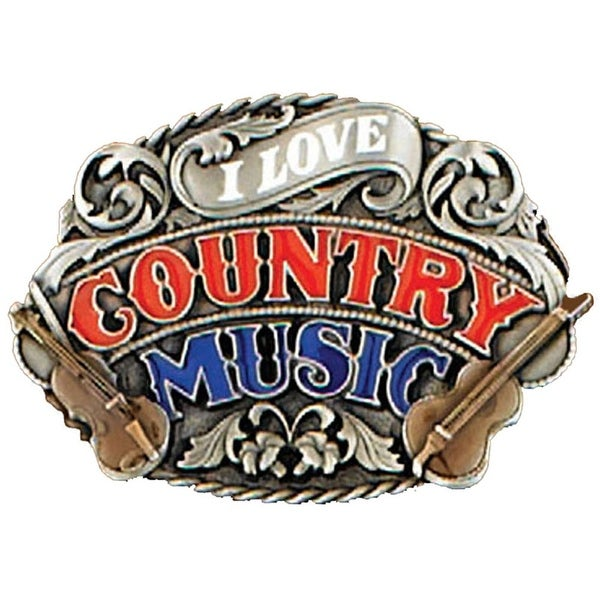 I Love Country Music Belt Buckle - One size