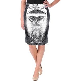DKNY Womens Lined Metallic Pencil Skirt