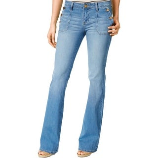 Kut From The Kloth Womens Jane Flare Jeans Stone Wash Button Pockets