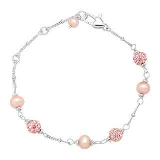 Girl's Pink Freshwater Pearl Bracelet with Crystals in Sterling Silver