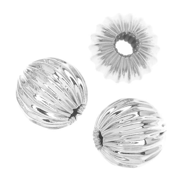 Silver Plated Corrugated Round Beads 6mm (20)