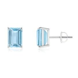 Claw Set Solitaire Emerald Cut Aquamarine Stud Earrings