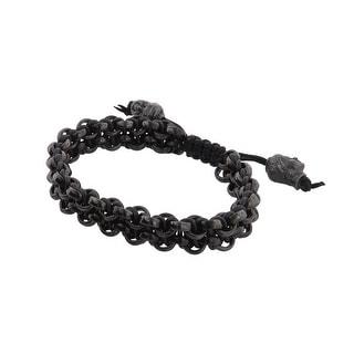 Links Women's Black Two-Row Bracelet in Matte Black PVD plate