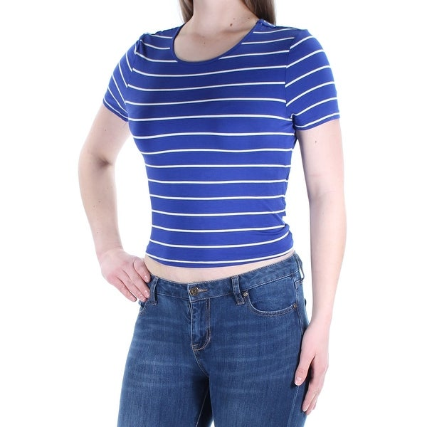 de5c6546a83 Shop KENSIE Womens Blue Striped Short Sleeve Scoop Neck TShirt Top Size: M  - Free Shipping On Orders Over $45 - Overstock - 22431334