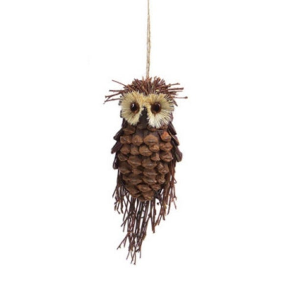 "7.5"" Modern Lodge Pine Cone and Twig Owl Christmas Ornament Decoration"