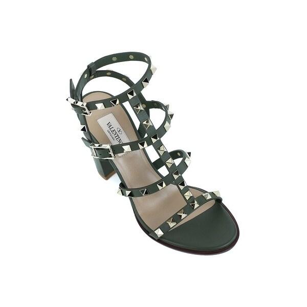 0dcb6560fe67 Shop Valentino Dark Green Rockstud Ankle Strap Block Heel - Free ...