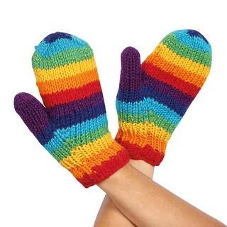 Women's Color Spectrum Knit Wool Mittens - Medium