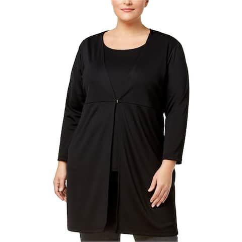 Kasper Womens Knit Topper Jacket, black, 1X