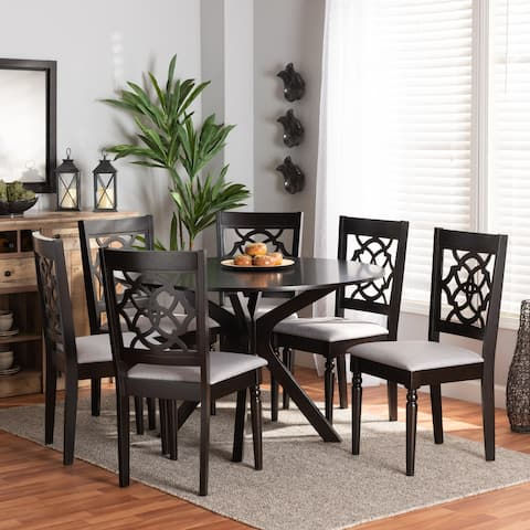 Sadie Grey Fabric and Dark Brown Finished Wood 7-Piece Dining Set