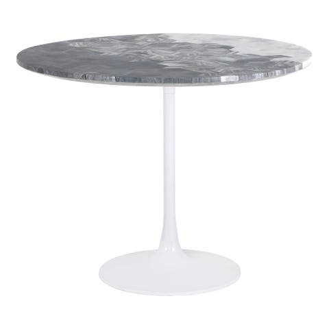 Aurelle Home Modern Geometric Pattern Marble Top Dining Table