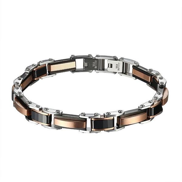 Stainless Steel Mens Bracelet Rose Gold Tone Link Hip Hop Wristband Custom Link