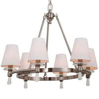 """Park Harbor PHHL6016 Southampton 23"""" Wide 6 Light Empire Style Chandelier with Tapered Shades"""