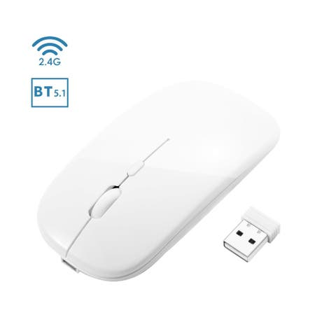 INSTEN - BT 5.1 2.4G Dual Mode Wireless Rechargeable Mouse, 1600DPI Portable Mouse for Laptop Windows 10 Android MacBook, White