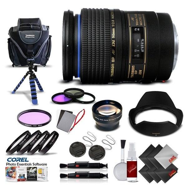 Tamron SP 90mm f/2.8 Di Macro Autofocus Lens for Canon International Version (No Warranty) Pro Kit - black