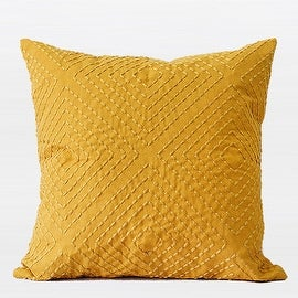 "G Home Collection Luxury Yellow Diamond Embroidered Pillow 18""X18"""