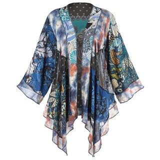 "Women's Melange Fashion Jacket - Kimono Style Hangs 27"""
