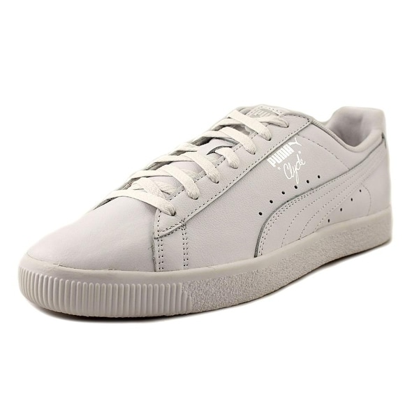Puma Clyde Core L Foil Men Round Toe Leather White Sneakers