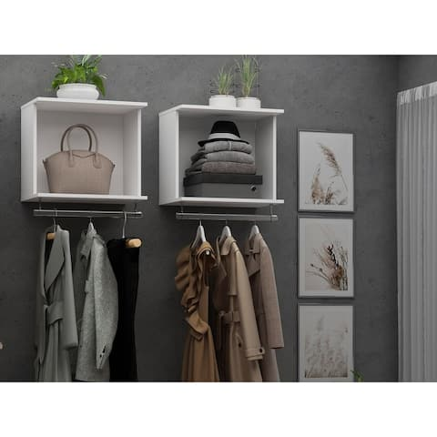 Rockefeller 2-Piece 20.8 Open Floating Hanging Closet with Shelf and Hanging Rod