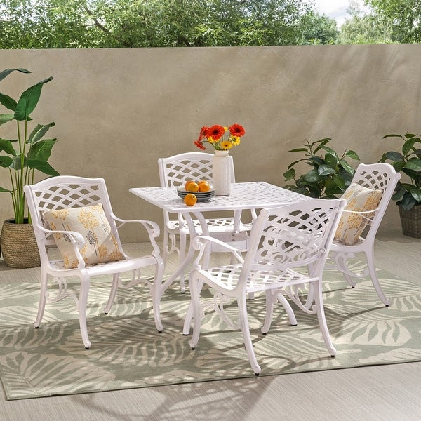 Phoenix Traditional Outdoor Aluminum 5 Piece Dining Set by Christopher Knight Home. Opens flyout.