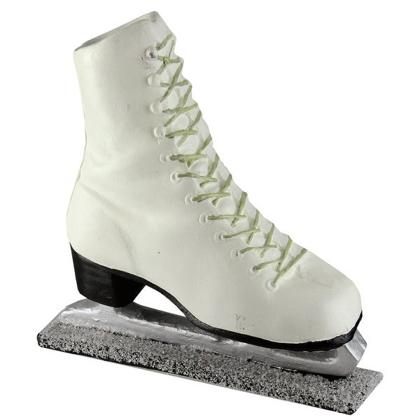 """11"""" Decorative White Laced Up Ice Skate Figure on Frosted Base"""