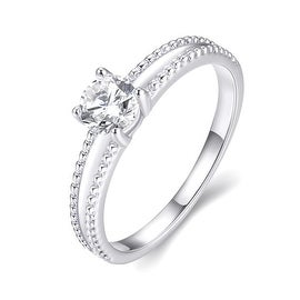 White Gold Plated Elegant Cut Ring