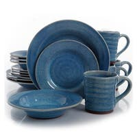 Gibson  Elite Mariani 16 Piece Stoneware Dinnerware Set , Blue