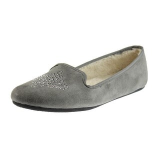 Hush Puppies Womens Carnation Faux Suede Rhinestone Loafer Slippers - 10 medium (b,m)