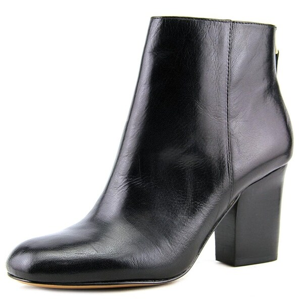 Nine West Genevieve Women Round Toe Leather Black Ankle Boot