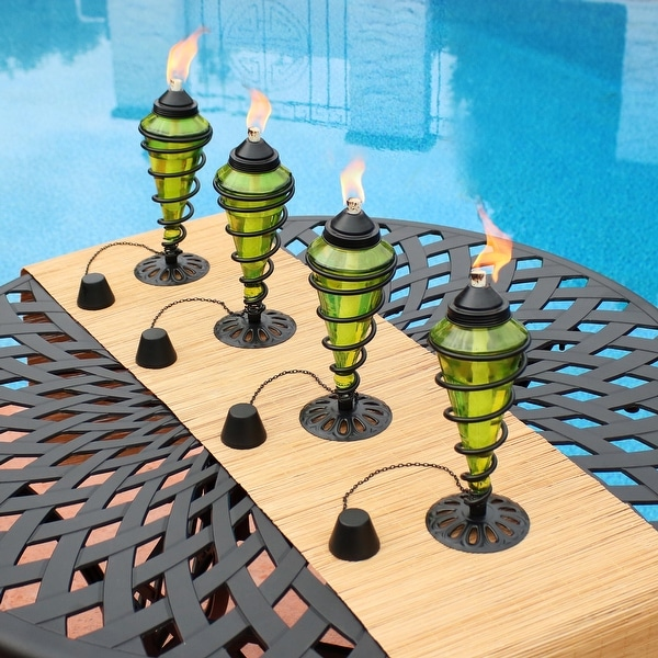 Sunnydaze Green Glass Outdoor Tabletop Torches - Fiberglass Wicks - Set of 4