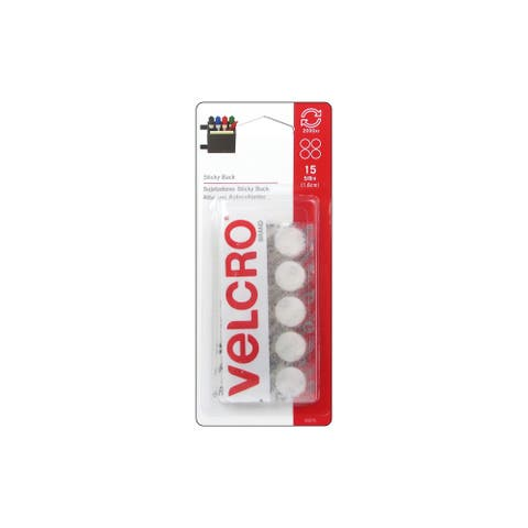 "Velcro Sticky Back Coin 5/8"" White 15pc"
