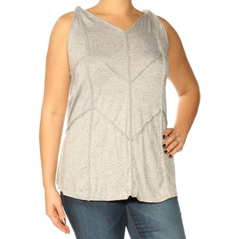 STUDIO M Womens Gray Printed Sleeveless V Neck Top Size: L