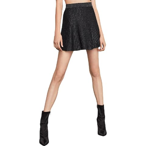 BCBG Max Azria Womens Mini Skirt Striped Metallic
