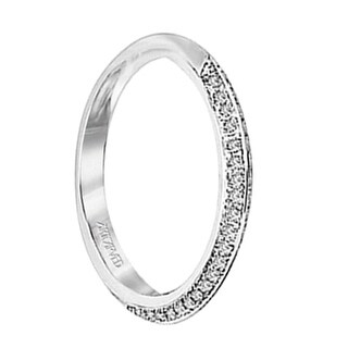 BELLE Ladies Palladium Wedding Ring with Double Row Pave Diamond Settings by ArtCarved Bridal - 3 mm