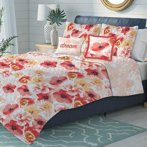 Premius Antonia Oversized 5-Piece Floral Reversible Quilt Set, Orange