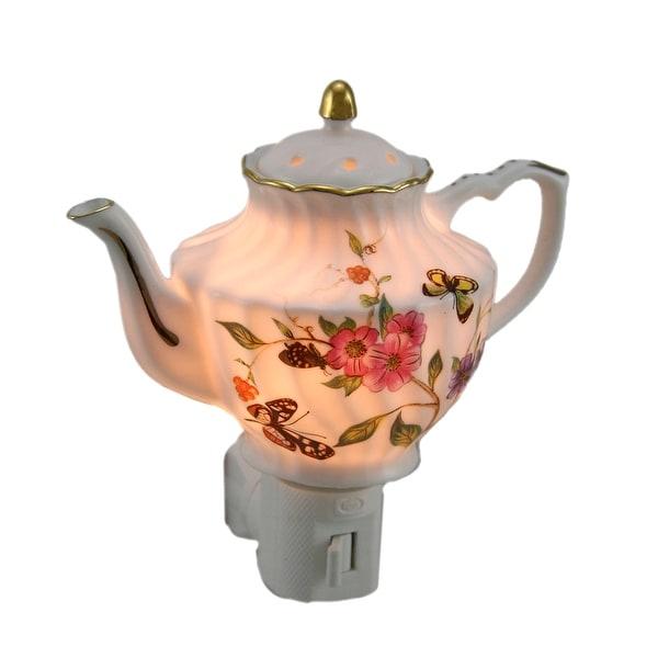 Garden of Butterflies Porcelain Teapot Plug In Night Light - White