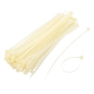 100pcs 198 x 5mm Plastic Self Locking Reusable Cable Zip Ties Fastener Beige