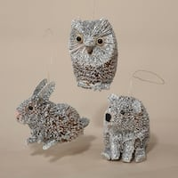 """Club Pack of 12 In the Birches Polar Bear, Rabbit & Owl Christmas Ornaments 4"""" - WHITE"""