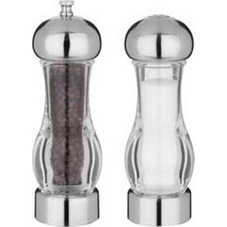 Chrome & Clear - Pepper Mill & Salt Shaker 7""