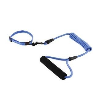 Dog Travel Picnic Nylon Adjustable Leash Rope Neck Collar Chain (Dark Blue, XS)