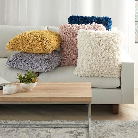 "Kathy Ireland Home Boho Farmhouse Curly Shag Plush Modern Throw Pillow ( 20""X20"" )"