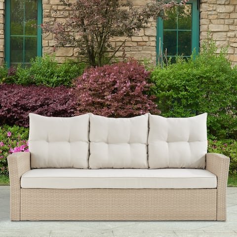Lawayon Light Brown Outdoor Wicker Sofa with Cushions by Havenside Home