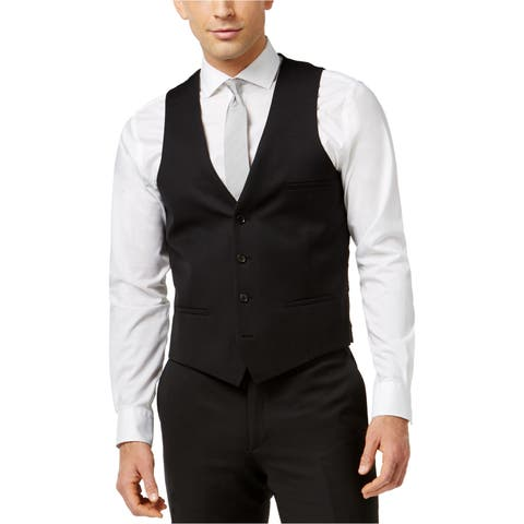 Bar Iii Mens Pinpoint Dress Four Button Vest