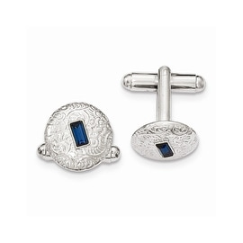 Silvertone Blue Crystal Filigree Round Cuff Links