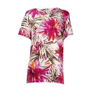 Alfred Dunner Women's Beaded Tropical Floral Knit Shirt - m